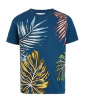 John Lewis Boys%27 Leaf Print T-Shirt, Blue<br>£10.00 - £12.00