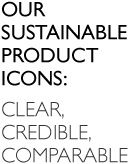 Our sustainable product icons: Clear, credible, comparable