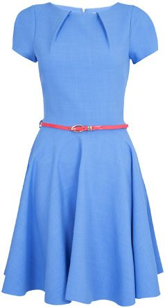 closet cap sleeve flared belted dress blue