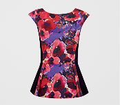Alexon Floral Print Peplum Top, Purple, £65