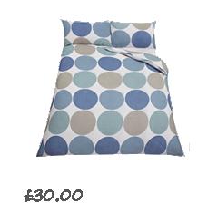 John Lewis Value Spot and Stripe Pack of 2 Duvet Cover Sets , Blue £20.00- 40.00