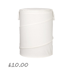 Cotton Pop-Up Laundry Hamper, Bone, Small £10.00