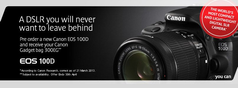 Pre-order a Canon EOS 100D and receive your Canon Gadget bag 300EG