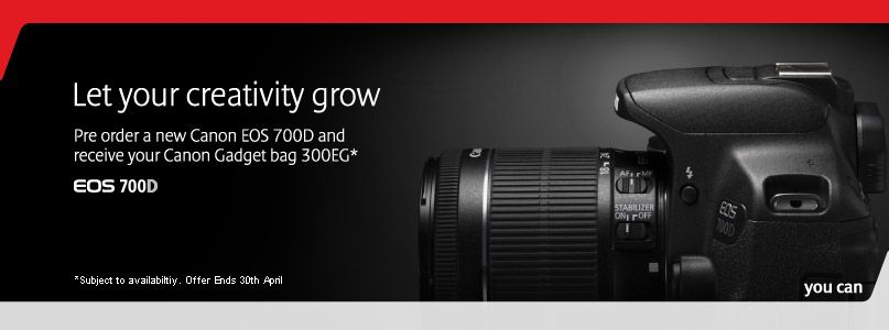 Pre-order a Canon EOS 700D and receive your Canon Gadget bag 300EG