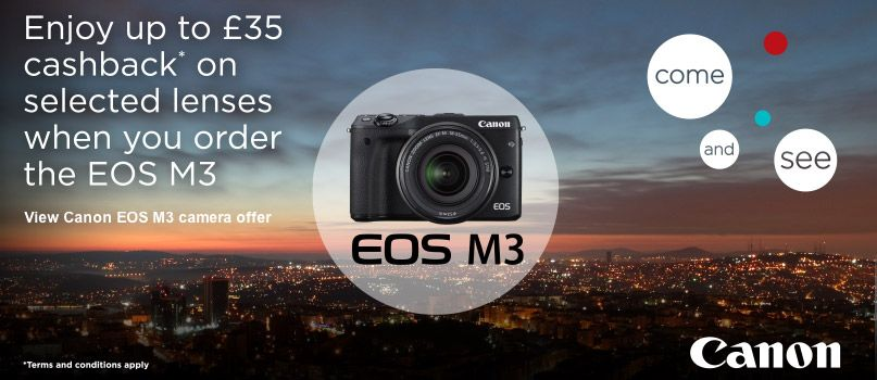 Enjoy up to £35 cashback on selected lenses when you order the EOS M3