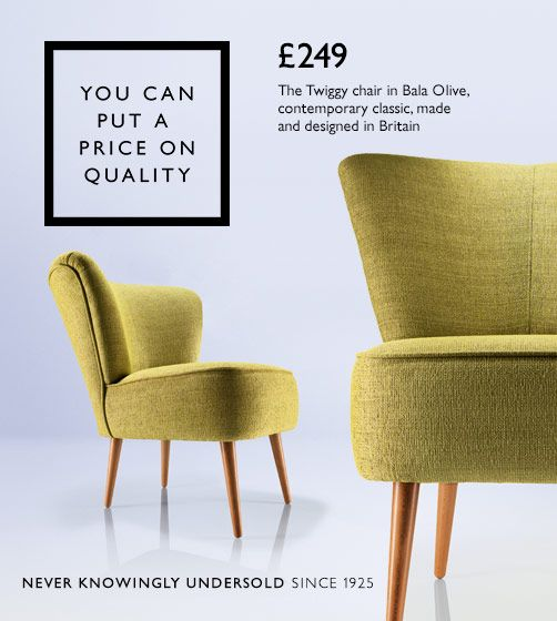 The Twiggy chair in Bala Olive, contemporary classic, made and designed in Britain