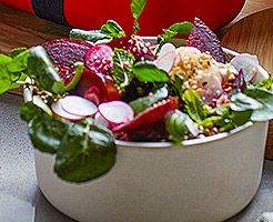 Beetroot, labneh and dukkah salad