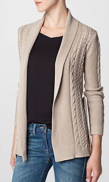 Mango Cable Knit Belted Cardigan , Light Beige, £34.99