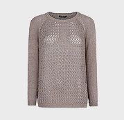 Mango Cotton Knit Jumper, Light Pastel Brown, £39.99