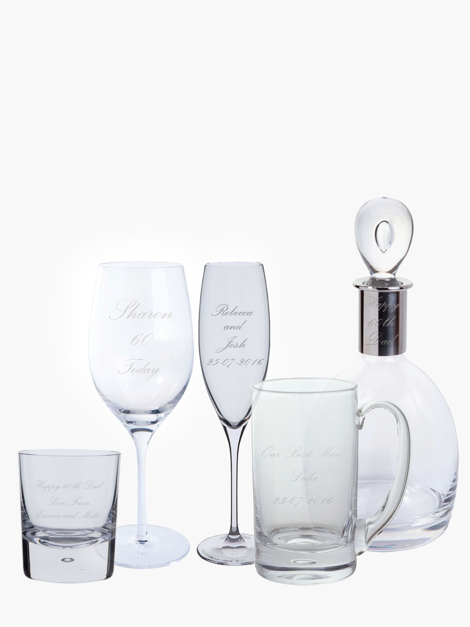 Personalised Wedding Gifts John Lewis : Buy Dartington Crystal Personalised Palace Script Font Glassware ...