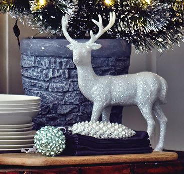 John Lewis Croft Collection White Glitter Reindeer, Small
