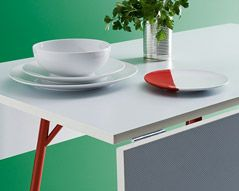 House by John Lewis Suzy Dining Table, White/Red