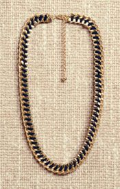John Lewis Cord Weave Box Chain Necklace, Black, £20.00