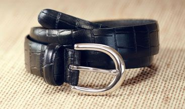 John Lewis Croc Smart Leather Belt, Black, £20.00