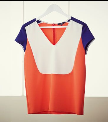 Tara Jarmon Colour Block Top, Ecru