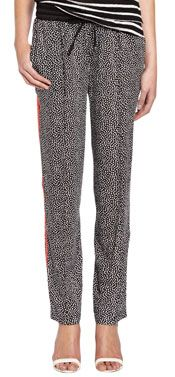 Oui Print Trousers, Black/White