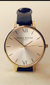 Olivia Burton Women%27s Big Dial Leather Strap Watch, Navy / Rose Gold
