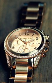 Michael Kors MK5263 Women%27s Crystal Round Stainless Steel Watch, Rose Gold