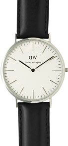 Daniel Wellington Men's Classic Stainless Steel Leather Strap Watch