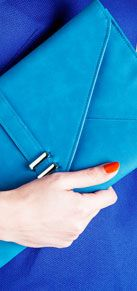 John Lewis Holly Envelope Clutch Bag, Blue