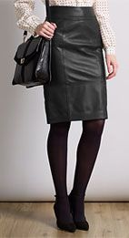 Somerset by Alice Temperley Leather Pencil Skirt, Black