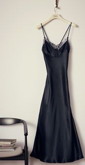 Somerset by Alice Temperley Vintage Lace Long Chemise , Black