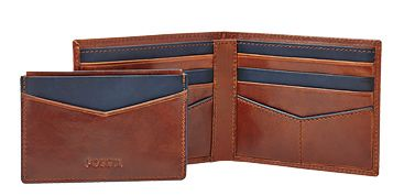Fossil Leather Wallet And Card Holder, Brown
