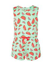 John Lewis Girls' Jersey Watermelon Print Playsuit, Multi