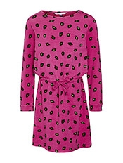 John Lewis Girl Cotton Leopard Print Dress, Pink, £16 - £18