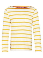 John Lewis Girl Long Sleeve Stripe Pocket Detail T-Shirt, Yellow/cream, £10 - £12