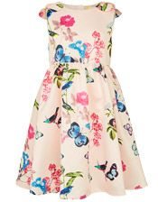 John Lewis Heirloom Collection Girls' Satin Floral Print Dress, Pink