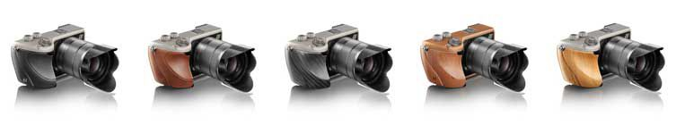 The Hasselblad Lunar available in these finishes; black leather, brown Tuscan leather, carbon fibre, mahogany and olive wood