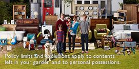 Policy limits and exclusions apply to contents left in your garden and to personal possessions.