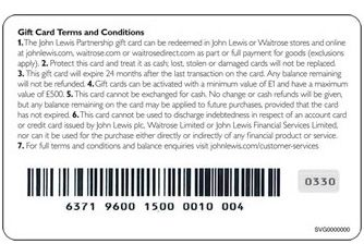 Back of the John Lewis Partnership Gift card