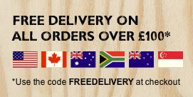 Free delivery to Australia, New Zealand, USA, Canada and South Africa on all orders over £100*