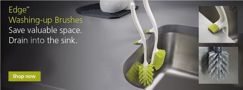Edge washing-up brushes. Save valuable space.Drain into the sink