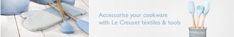 Accessorise your cookware with Le Creuset textiles & tools