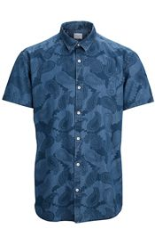 Selected Homme Sley Denim Paisley Print Short Sleeve Shirt, Medium Blue