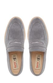 Barking Perforated Suede  Gum Sole Loafers, Grey
