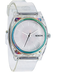 Nixon Unisex The Time Teller Polycarbonate Translucent Strap Watch, Clear