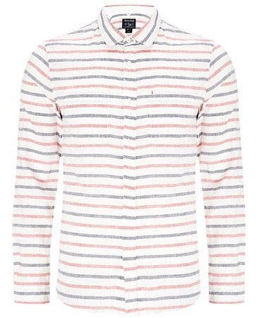 Woolrich John Rich & Bros. Striped Linen Shirt, Coral Red
