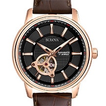 Bulova 97A109 Men's Mechanical Leather Strap Watch, Rose Gold