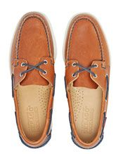 Sebago Spinnaker Leather Boat Shoes, Cognac/Navy