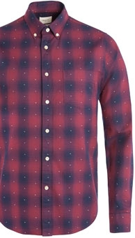 Bellerose Gingham Dotted Long Sleeve Shirt, Navy/Maroon