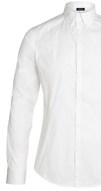 Armani Jeans Stretch Poplin Cotton Long Sleeve Shirt, White