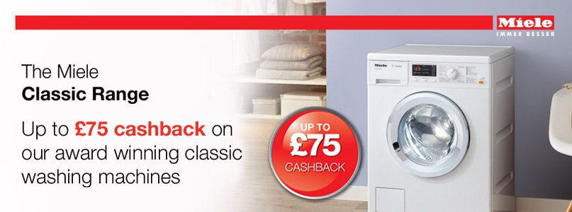 Receive up to £75 cashback on award-winning washing machinces