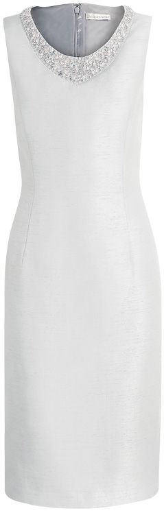 Jacques Vert Beaded Neck Shift Dress, Dove