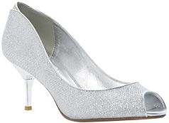 Dune Decra Glitter Peep Toe Court Shoes, Silver