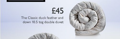 The Classic duck feather and down 10.5 tog double duvet - £45