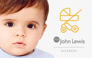 Small child and My John Lewis Nursery Service logo